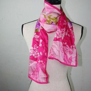 Pink Silk Spring Summer Floral Scarf,